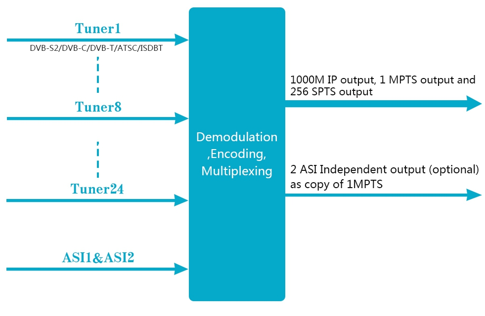 Principle Chart of DVB-T2 to IP Receiver Gateway
